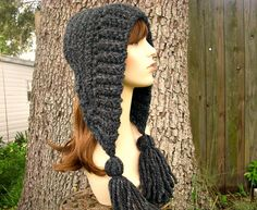 Hand Crocheted Hat Womens Hat Crochet Hood - Tassel Hat in Charcoal Grey - Winter Fashion Winter Accessories. $50.00, via Etsy.
