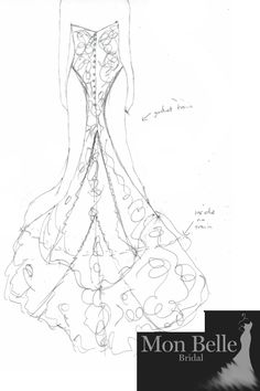 LL19880VB custom design lace wedding dress. Work in Progress - creation of a dream wedding dress.  From quick sketch to paper pattern to QC photos - pinning of lace appliques to check visual impact.  When the bride couldn't decide if she still wants to scallop the main crepe hem too after viewing the QC photos - we pin a string of ribbons along where we are going to trim to give her a visual to make an informed decision.  Scallop crepe OR Not - its up to the bride.  Check out how this…