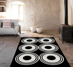 Black and white rug, Decorative Rug, Geometric rug, carpet, area rug, living room decor, modern decor, home decor, modern area rug by TheGretest on Etsy https://www.etsy.com/listing/228267994/black-and-white-rug-decorative-rug