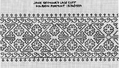 Jane Seymour's Blackworked Cuff - Working from the picture shown to the left, Lorraine Behrens (lorraine@kingston.net) redacted a blackwork pattern to re-create it.