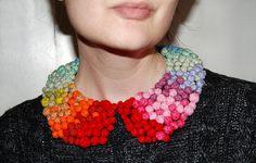 Rainbow Pom Pom Collar Necklace - DIY Tutorial http://ragstocouture.com/rainbow-pom-pom-collar-necklace-diy-tutorial/