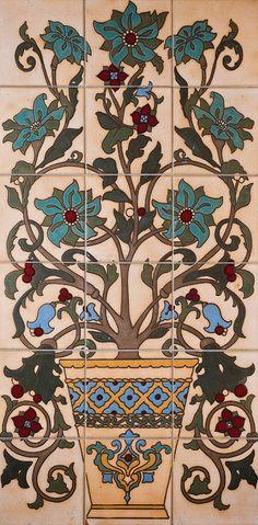 """#124 Ceramic Flower Pot Panel, Color Way A, 36 X 18"""" (6X6"""")"""