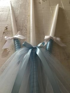 Greek / Eastern Orthodox Baptism Candles for a boy One and two either or candles Wrapped with blue double sided satin ribbon and dressed with blue and white tulle Blue Candles, 18 Candles, Baptism Candle, Wedding Unity Candles, Candle Set, Orthodox Wedding, White Tulle, Easter Candle, Decorative Candles