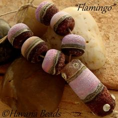 FLAMINGO  - Handmade Lampwork Glass Bead Set  by Havanabeads.etsy.com