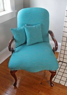 Urbane Reclamation   Turquoise Faux Bois Chair