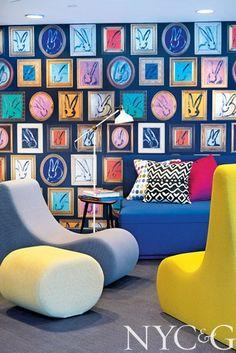 Whimsical bunny wallpaper designed by Hunt Slonem for Kravet and curvilinear furniture by Verpan.