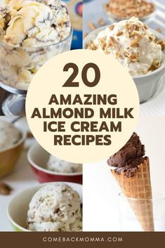 20 Amazing Almond Milk Ice Cream Recipes Simply replacing the regular milk with almond milk can make all the difference in the world especially for those are lactose intolerant like me. Almond Milk Ice Cream, Dairy Free Ice Cream, Vegan Ice Cream, Ice Milk, Healthy Ice Cream, Almond Milk Recipes, Homemade Almond Milk, Homemade Ice Cream, Almond Milk Gelato Recipe