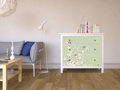 Designfolie White Blossoms für dein Hemnes Kommode 3 Schubladen