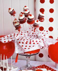 Blackberry cupcakes by Call me cupcake Blackberry Cupcakes, Yummy Cupcakes, Mini Cupcakes, Polka Dot Party, Polka Dots, Red Dots, Call Me Cupcake, Ball Birthday Parties, Birthday Ideas