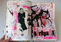 Rosa Verdosa, Art Journal, Scrapbook, Pink, Red, Black, mix-media