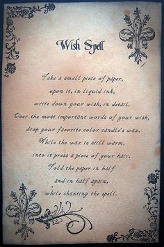 Wish Spell, for a halloween spell book Witch Spell Book, Witchcraft Spell Books, Wicca Witchcraft, Magick Spells, Candle Spells, Fairy Spells, Mermaid Spells, Wiccan Books, Healing Spells