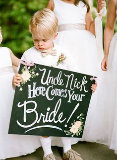 RingBearer and Flower Girl wedding ceremony sign ideas. Ring bearers and flower girls have always been adorable but, to give them a sign to carry. Wedding Ceremony Ideas, Wedding Signs, Wedding Bells, Wedding Hacks, Wedding Wishes, Diy Wedding, Wedding Stuff, Wedding Flowers, Wedding Photos