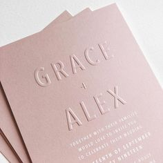 Modern, embossed, blush wedding invitation with white ink invites modern Blush wedding invitation with white ink Vintage Wedding Invitation, Blush Wedding Invitations, Wedding Invitation Design, Wedding Stationary, Modern Invitations, Modern Wedding Stationery, Creative Wedding Invitations, Stationary Design, Engagement Invitations