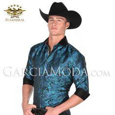 Camisa El General Western Wear 33664 Teal Vaquero Western