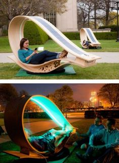 """Soft Rockers"" are solar-powered lounging chairs that recharge your electronics.(Cool Furniture Inventions) Urban Furniture, Street Furniture, Cool Furniture, Furniture Design, Furniture Ideas, Futuristic Furniture, Lawn Furniture, Outdoor Furniture, Wooden Furniture"