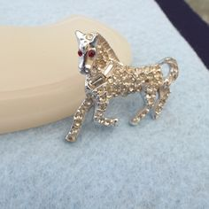 Early 50s Crystal Rhinestone Figural Horse Brooch, Lovely!