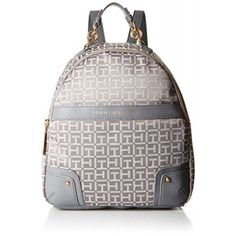 Backpacks, Tommy Hilfiger, Tommy Hilfiger Isabella Jacquard Backpack, Gray Tonal, One Size