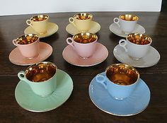 8 Figgjo Flint Norway Harlequin & Gold Coloured Coffee Cups & Saucers 1 Cup A/F Coffee Cups And Saucers, Tea Cups, Vintage China, Retro Vintage, Gull, Wonderful Things, 1 Cup, Norway, Sweet Home
