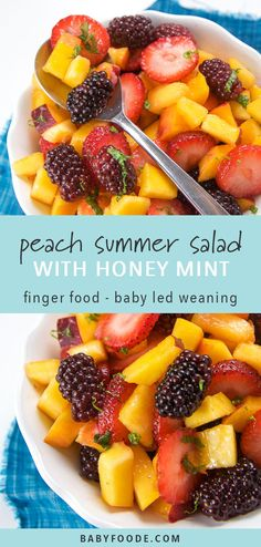 Peach Summer Fruit Salad with Mint + Honey Dressing This peach summer salad recipe is a fantastic first finger food, on the go snack, or packed lunch side. It's filled with seasonal summer produce, and a quick and easy fruit… Continue Reading → Summer Salads With Fruit, Summer Salad Recipes, Fruit Salad Recipes, Baby Food Recipes, Fruit Snacks, Kids Fruit, Food For Summer, Salad With Fruit, Game Fruit