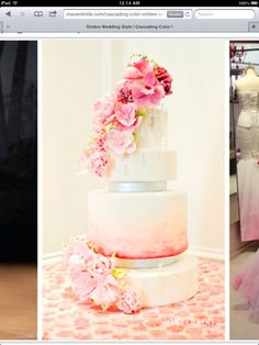 Pink silver ombre inspired cake