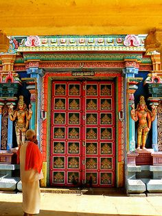 Time to Pray by Tamara Travers  An entrance to a Hindu temple in Trichy, South India