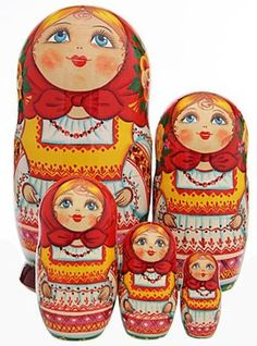 A set of Matryoshkas - Russian nesting dolls.