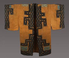Ainu ~ Attush man's robe    Hokkaido, Japan, 19th century    Attush (inner bark from an elm tree) with cotton applique and embroidery    The patterns around the openings and edges of the robe are believed by the Ainu to protect the wearer from evil gods which can enter the garment through gaps in the clothing. This is an early and wonderful example of its type.