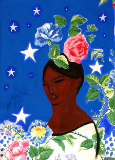 woman and flowers. , via Etsy.