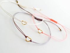 Gold heart bracelet, tiny bracelet, friendship bracelet, gift jewelry - Another! Cute Jewelry, Diy Jewelry, Jewelry Gifts, Beaded Jewelry, Jewelery, Jewelry Bracelets, Handmade Jewelry, Jewelry Making, Heart Jewelry