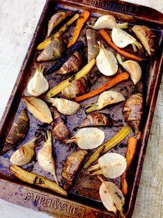 Noshtopia: Meatless Monday Idea: Roasted Kohlrabi, Turnip, and Heirloom Carrot Salad With Garden Cress Blend