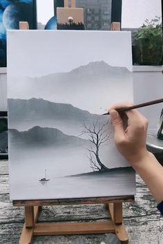 Canvas Painting Tutorials, Diy Canvas Art, Landscape Paintings, Sunset Paintings, Sky Painting, Mountain Paintings, Watercolor Art Lessons, Art Painting Gallery, Art Drawings Beautiful