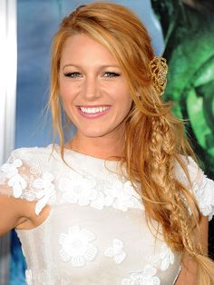 Blake Lively's best braids: This boho wavy hairstyle with Chanel flower pin