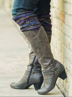 etté studios: DIY Knitted Boot Cuff Roundup - knit these and arm cuffs in brown furry looking stuff for costume