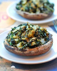 letfoodhealu:  ~Spinach Stuffed Portobello Mushrooms~http://healthyrecipesblogs.com/2014/02/03/stuffed-portobello-mushrooms/#more-7637