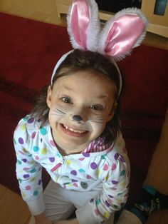 Easter face-painting and rabbit ears