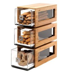 Rosseto® Three-Tier Bamboo Bakery Display Column With Clear Acrylic Drawers - Cool Kitchen Gadgets, Kitchen Items, Cool Kitchens, Kitchen Decor, Bakery Display Case, Pastry Display, Bread Display, Cafe Display, Wood Display