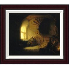 Global Gallery Philosopher in Meditation by Rembrandt Van Rijn Framed Painting Print Size: