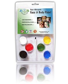 Supreme Kids Hypoallergenic Face Paint http://www.amazon.com/Face-Paint-Body-Kit-Hypoallergenic/dp/B00L9QSZ06
