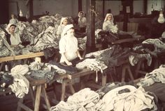 Lodz, Poland, Women working in the ghetto laundry.   Belongs to collection: Yad Vashem Photo Archive   Additional Information: