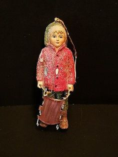 New Bethany Lowe Christmas Ornament Boy Holding Sled Sleigh 5 inches tall