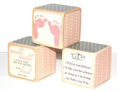 Shabby Chic Baby Blocks  Pink and Grey Nursery  by Booksonblocks