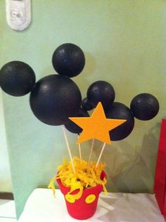 Made 4 of these for Henry's 1st Birthday Party as centerpieces.  Spray Paint melts styrofoam.  Used lots of acrylic paint because the styrofoam balls really soaked it up.  Took quite a while to dry.