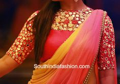 boat neck mirror work saree blouse. Indian fashion.