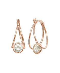 Look at this Cubic Zirconia & Rose Goldtone Bezel Hoop Earrings on #zulily today!