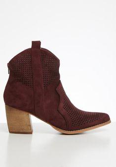 Back zip closure. Toe Shape, Block Heels, Cowboy Boots, Two By Two, Burgundy, Footwear, Ankle, Zip, How To Wear