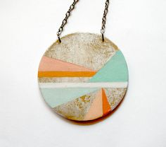 Hand painted geometric pendant. $24.00, via Etsy. #spanishcraft