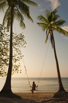 Palm tree swing, beach girl by the ocean water in the sand. For MORE beachy things FOLLOW http://www.pinterest.com/happygolicky/beach-beach-beach-off-to-the-coastal-chic-cottage-/