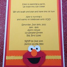 elmo party invite - for Jackson?