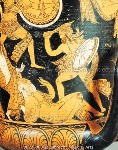Etruscan civilization, 4th century b.C. Red-figure pottery. Krater. From Civita Castellana, ancient Falerii, Rome province, Italy. Detail, Priamus on the ground.