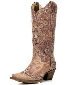 Women's Cognac Glitter Inlay Boot  #cowgirl #countrygirl #boots #cowgirlboots #cowgirlshoes  http://www.islandcowgirl.com/